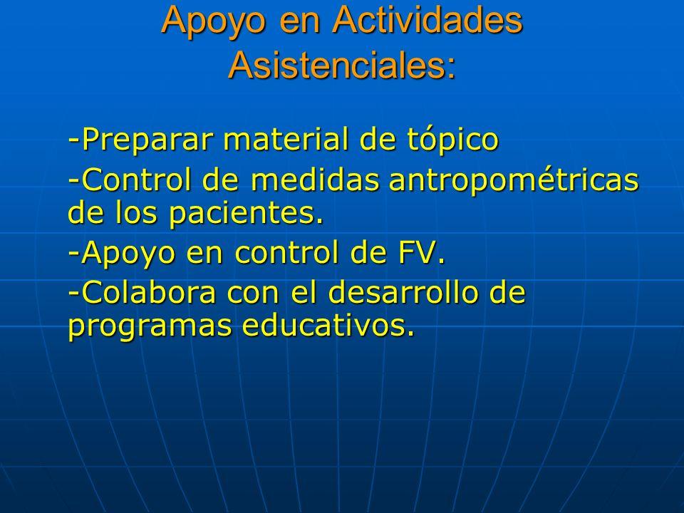 Apoyo en Actividades Asistenciales: -Preparar material de tópico -Control de medidas antropométricas de los pacientes. -Apoyo en control de FV. -Colab