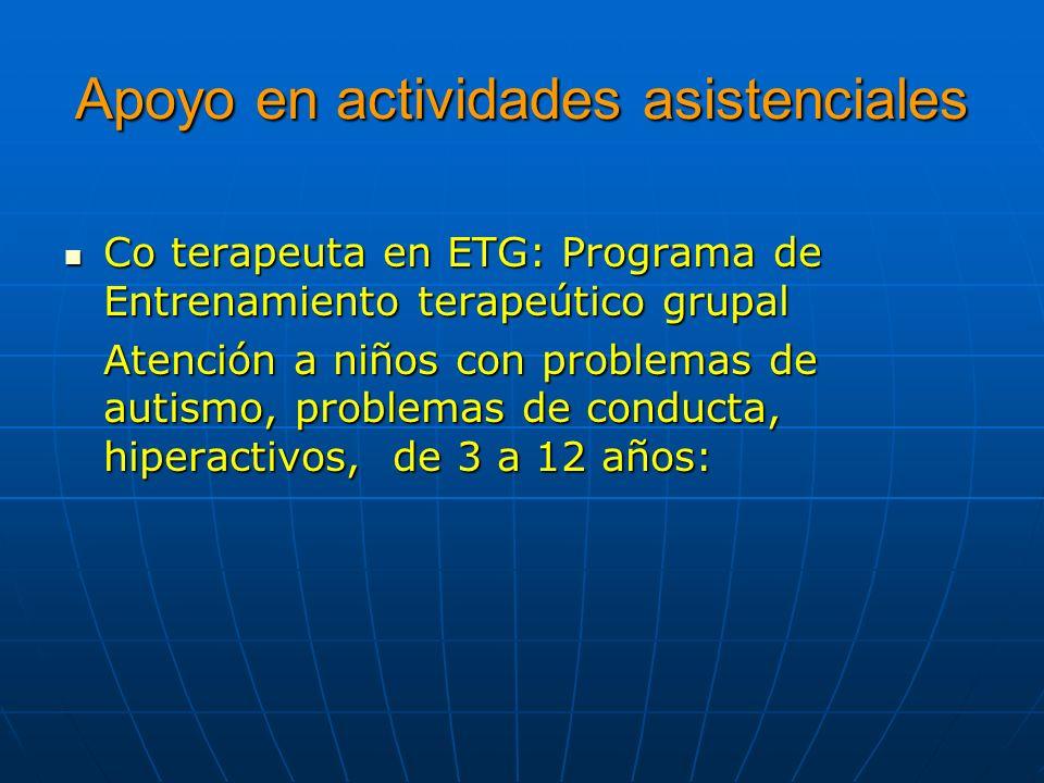 Apoyo en actividades asistenciales Co terapeuta en ETG: Programa de Entrenamiento terapeútico grupal Co terapeuta en ETG: Programa de Entrenamiento te