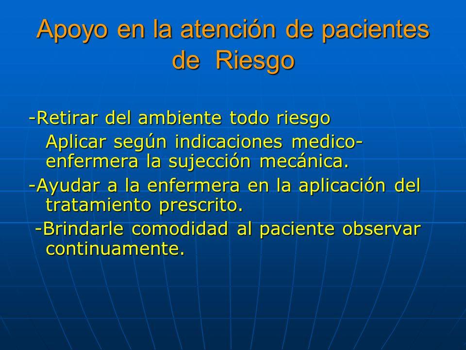 Apoyo en la atención de pacientes de Riesgo -Retirar del ambiente todo riesgo Aplicar según indicaciones medico- enfermera la sujección mecánica. -Ayu