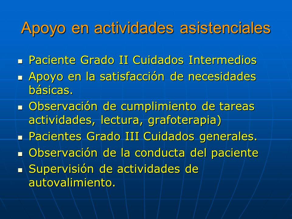 Apoyo en actividades asistenciales Paciente Grado II Cuidados Intermedios Paciente Grado II Cuidados Intermedios Apoyo en la satisfacción de necesidad