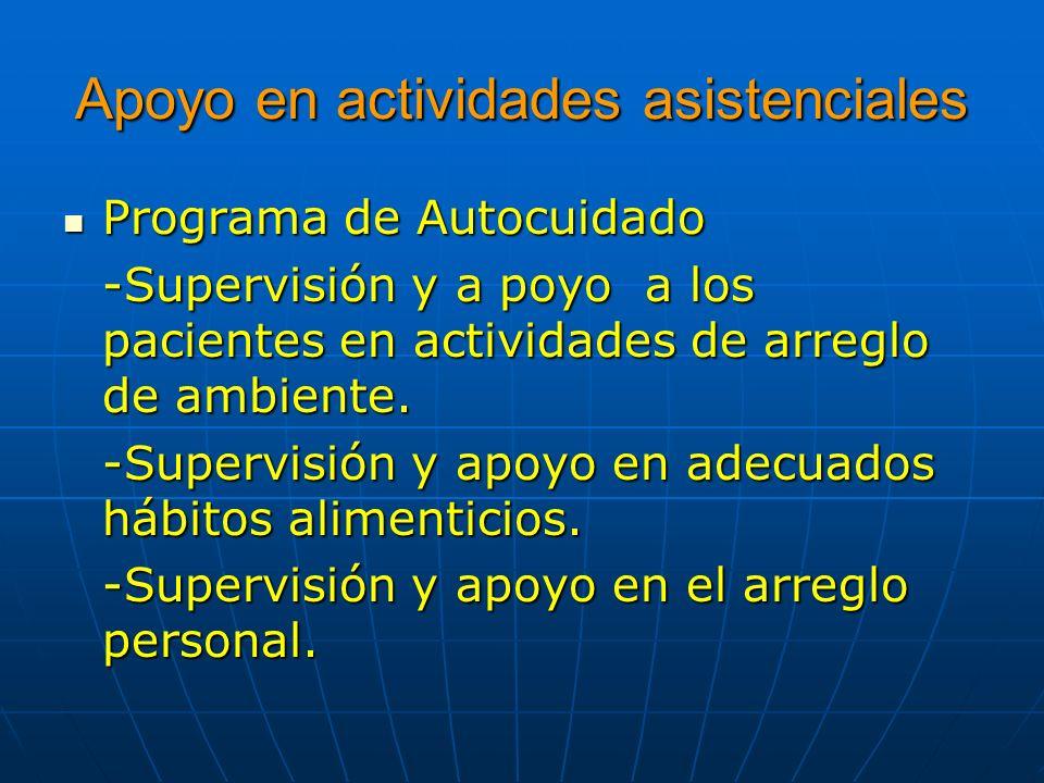 Apoyo en actividades asistenciales Programa de Autocuidado Programa de Autocuidado -Supervisión y a poyo a los pacientes en actividades de arreglo de