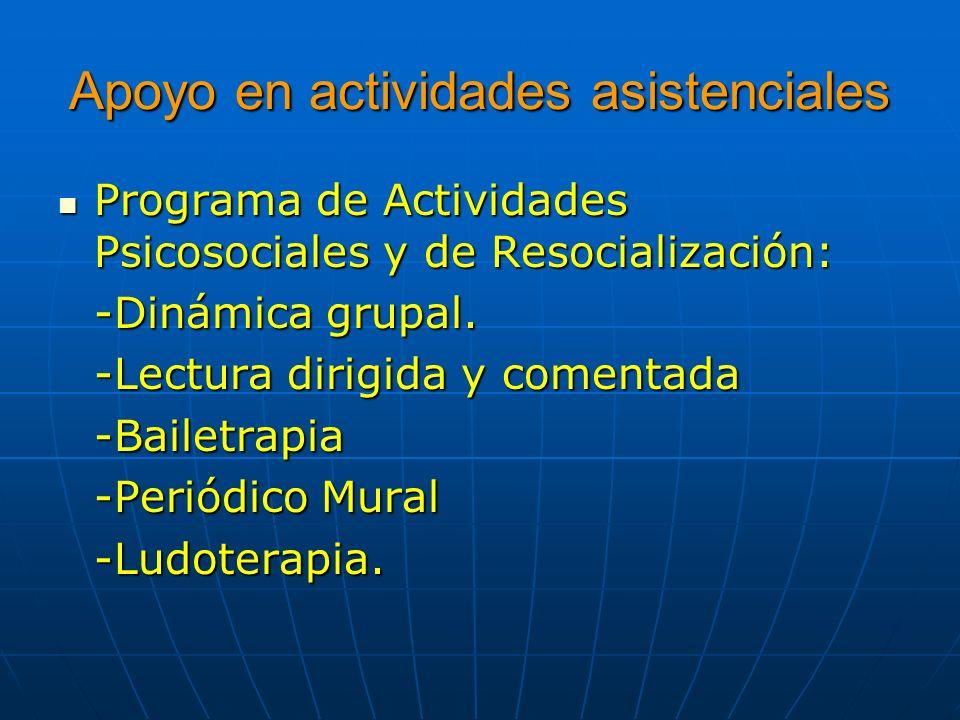 Apoyo en actividades asistenciales Programa de Actividades Psicosociales y de Resocialización: Programa de Actividades Psicosociales y de Resocializac