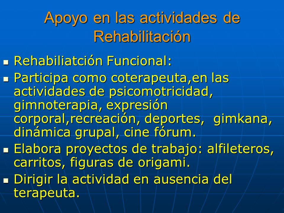 Apoyo en las actividades de Rehabilitación Rehabiliatción Funcional: Rehabiliatción Funcional: Participa como coterapeuta,en las actividades de psicom
