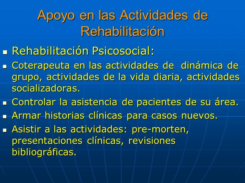 Apoyo en las Actividades de Rehabilitación Rehabilitación Psicosocial: Rehabilitación Psicosocial: Coterapeuta en las actividades de dinámica de grupo