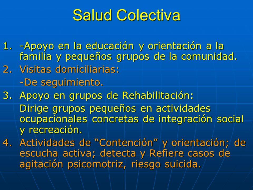 Salud Colectiva 1.-Apoyo en la educación y orientación a la familia y pequeños grupos de la comunidad. 2.Visitas domiciliarias: -De seguimiento. 3.Apo