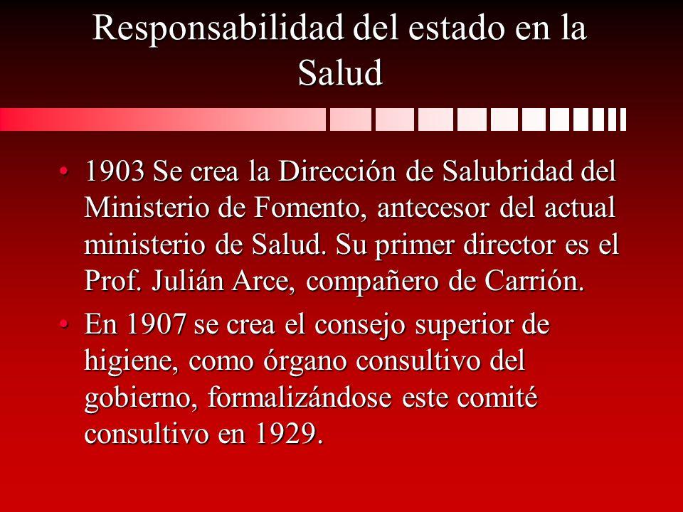 Responsabilidad del estado en la Salud 1903 Se crea la Dirección de Salubridad del Ministerio de Fomento, antecesor del actual ministerio de Salud. Su