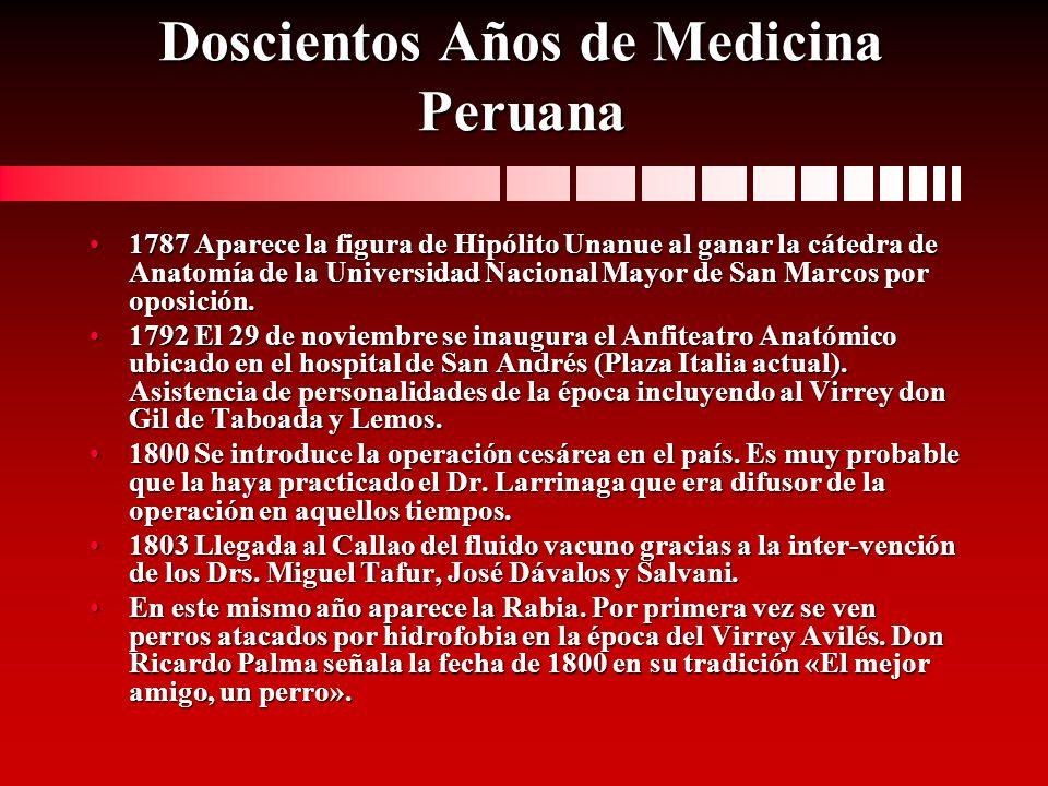 Doscientos Años de Medicina Peruana 1787 Aparece la figura de Hipólito Unanue al ganar la cátedra de Anatomía de la Universidad Nacional Mayor de San
