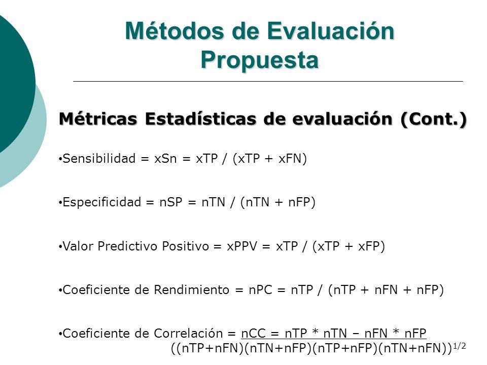 Métodos de Evaluación Propuesta Métricas Estadísticas de evaluación (Cont.) Sensibilidad = xSn = xTP / (xTP + xFN) Especificidad = nSP = nTN / (nTN +