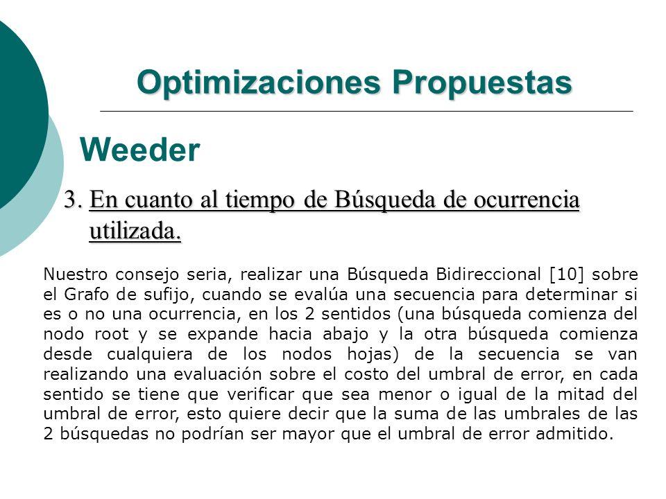 Optimizaciones Propuestas Weeder 3. En cuanto al tiempo de Búsqueda de ocurrencia utilizada. utilizada. Nuestro consejo seria, realizar una Búsqueda B