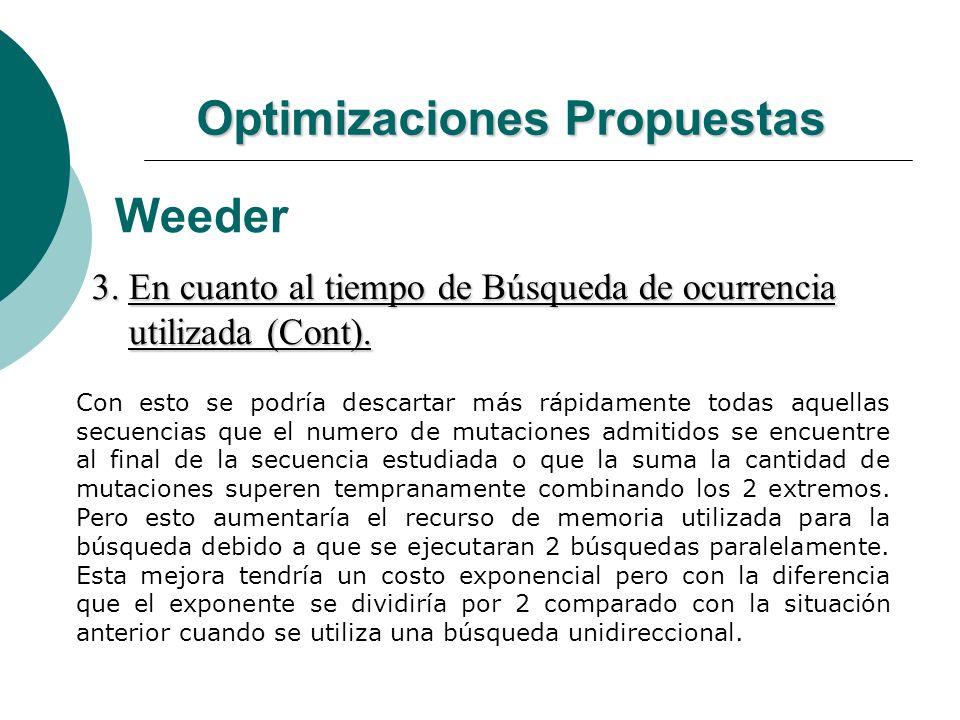 Optimizaciones Propuestas Weeder 3. En cuanto al tiempo de Búsqueda de ocurrencia utilizada (Cont). utilizada (Cont). Con esto se podría descartar más