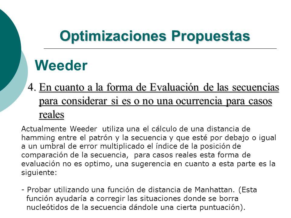 Optimizaciones Propuestas Weeder 4. En cuanto a la forma de Evaluación de las secuencias para considerar si es o no una ocurrencia para casos para con