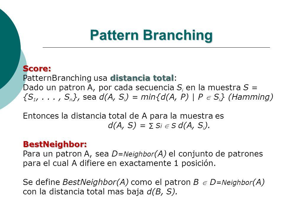 Pattern Branching Score: distancia total PatternBranching usa distancia total: Dado un patron A, por cada secuencia S i en la muestra S = {S 1,..., S