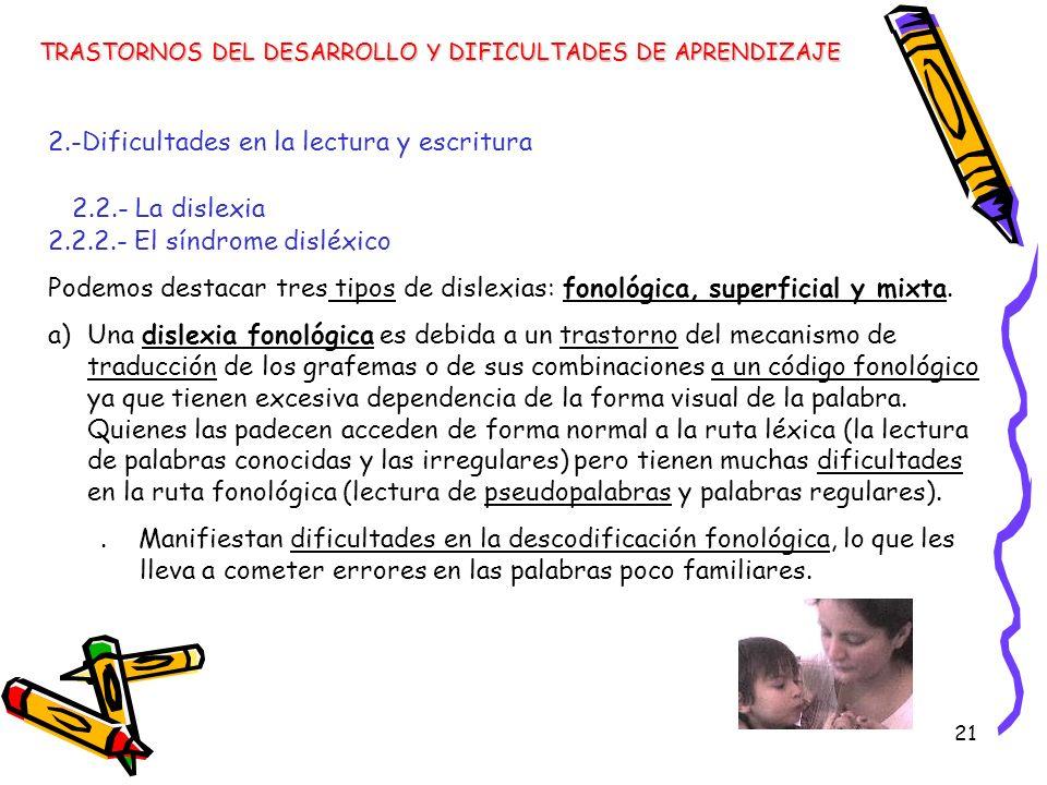 21 TRASTORNOS DEL DESARROLLO Y DIFICULTADES DE APRENDIZAJE 2.-Dificultades en la lectura y escritura 2.2.- La dislexia 2.2.2.- El síndrome disléxico P