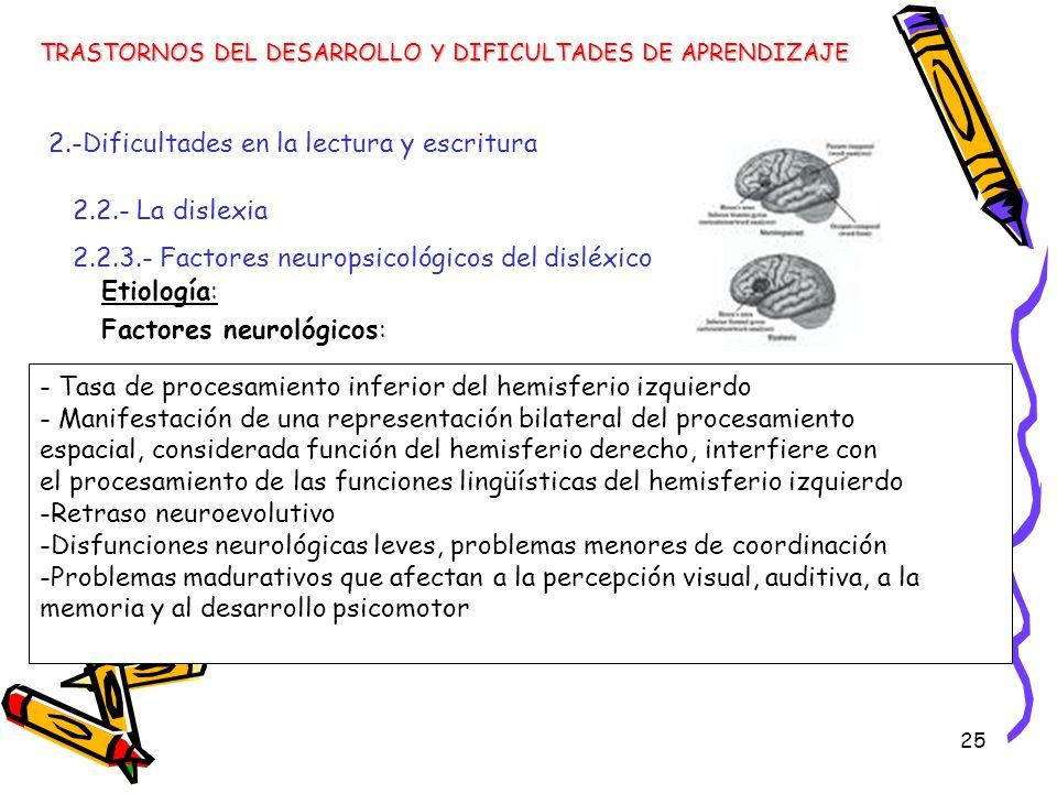 25 Etiología: Factores neurológicos: TRASTORNOS DEL DESARROLLO Y DIFICULTADES DE APRENDIZAJE 2.-Dificultades en la lectura y escritura 2.2.- La dislex