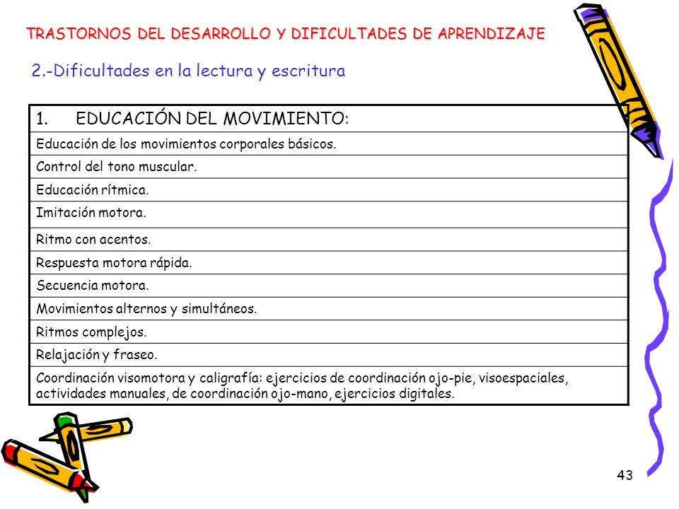 43 TRASTORNOS DEL DESARROLLO Y DIFICULTADES DE APRENDIZAJE 2.-Dificultades en la lectura y escritura 1.EDUCACIÓN DEL MOVIMIENTO: Educación de los movi