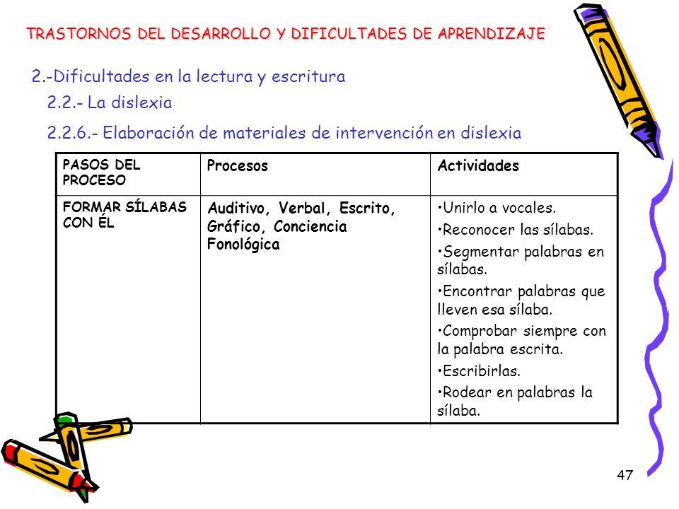 47 TRASTORNOS DEL DESARROLLO Y DIFICULTADES DE APRENDIZAJE 2.-Dificultades en la lectura y escritura 2.2.- La dislexia 2.2.6.- Elaboración de material