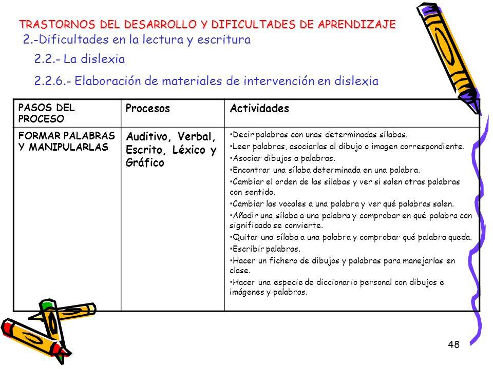 48 TRASTORNOS DEL DESARROLLO Y DIFICULTADES DE APRENDIZAJE 2.-Dificultades en la lectura y escritura 2.2.- La dislexia 2.2.6.- Elaboración de material