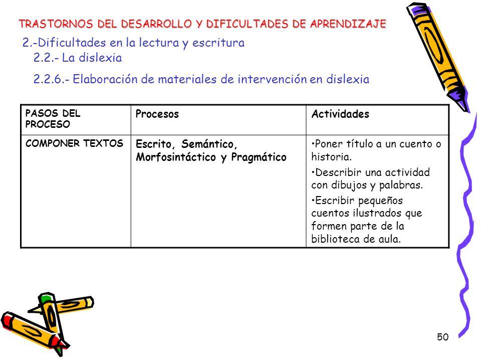 50 TRASTORNOS DEL DESARROLLO Y DIFICULTADES DE APRENDIZAJE 2.-Dificultades en la lectura y escritura 2.2.- La dislexia 2.2.6.- Elaboración de material
