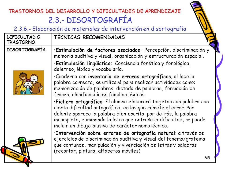 65 2.3.- DISORTOGRAFÍA 2.3.6.- Elaboración de materiales de intervención en disortografía TRASTORNOS DEL DESARROLLO Y DIFICULTADES DE APRENDIZAJE DIFI