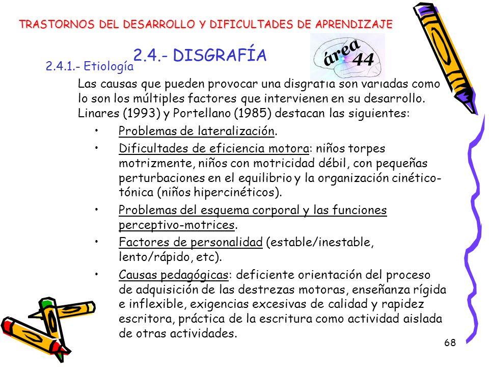 68 2.4.- DISGRAFÍA 2.4.1.- Etiología Las causas que pueden provocar una disgrafía son variadas como lo son los múltiples factores que intervienen en s