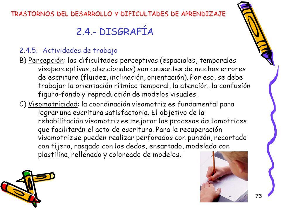 73 2.4.- DISGRAFÍA 2.4.5.- Actividades de trabajo B) Percepción: las dificultades perceptivas (espaciales, temporales visoperceptivas, atencionales) s