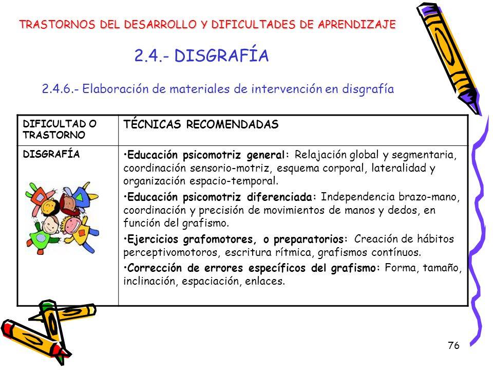 76 2.4.- DISGRAFÍA 2.4.6.- Elaboración de materiales de intervención en disgrafía TRASTORNOS DEL DESARROLLO Y DIFICULTADES DE APRENDIZAJE DIFICULTAD O