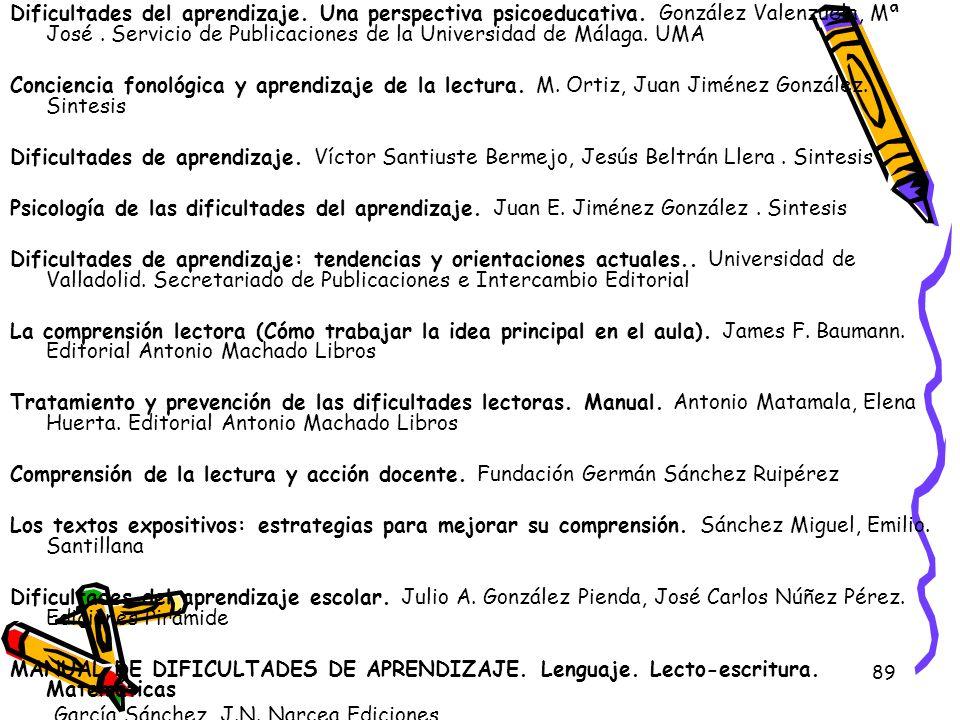 89 Dificultades del aprendizaje. Una perspectiva psicoeducativa. González Valenzuela, Mª José. Servicio de Publicaciones de la Universidad de Málaga.