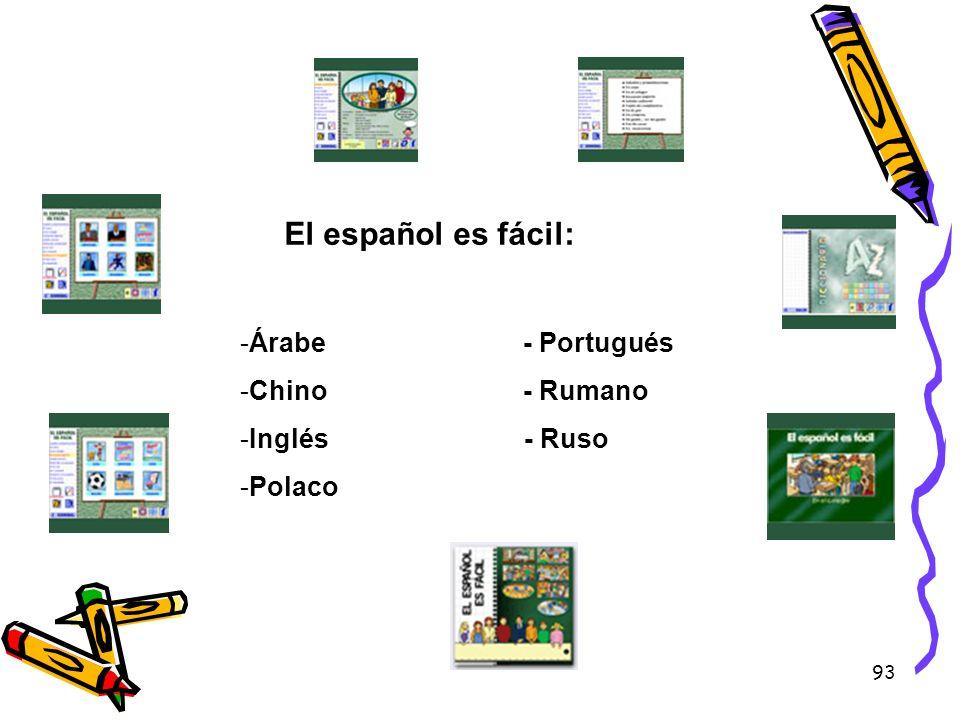 93 El español es fácil: -Árabe - Portugués -Chino - Rumano -Inglés - Ruso -Polaco