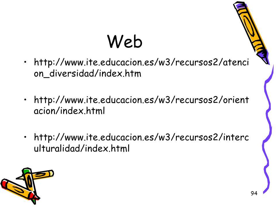 94 Web http://www.ite.educacion.es/w3/recursos2/atenci on_diversidad/index.htm http://www.ite.educacion.es/w3/recursos2/orient acion/index.html http:/