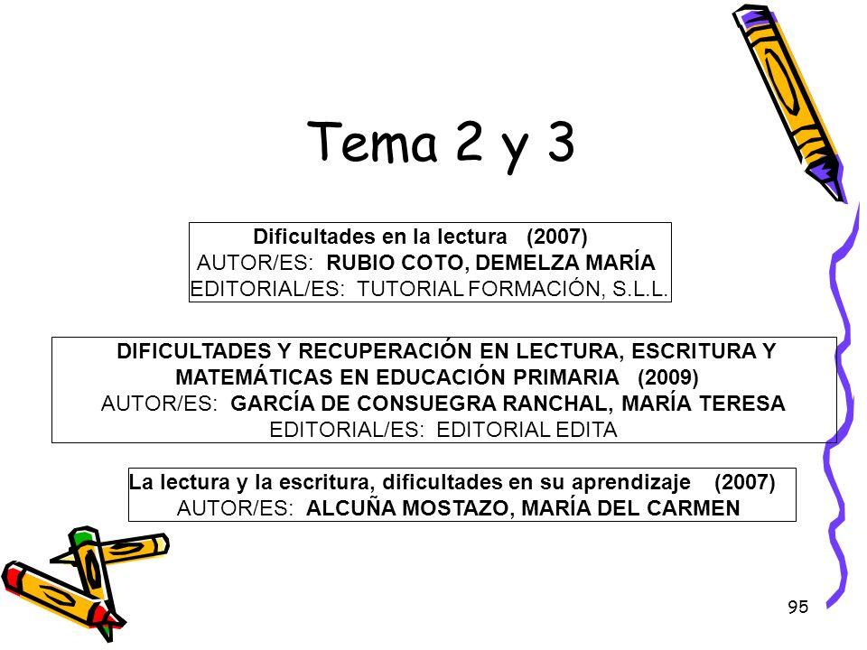 95 Tema 2 y 3 Dificultades en la lectura (2007) AUTOR/ES: RUBIO COTO, DEMELZA MARÍA EDITORIAL/ES: TUTORIAL FORMACIÓN, S.L.L. DIFICULTADES Y RECUPERACI