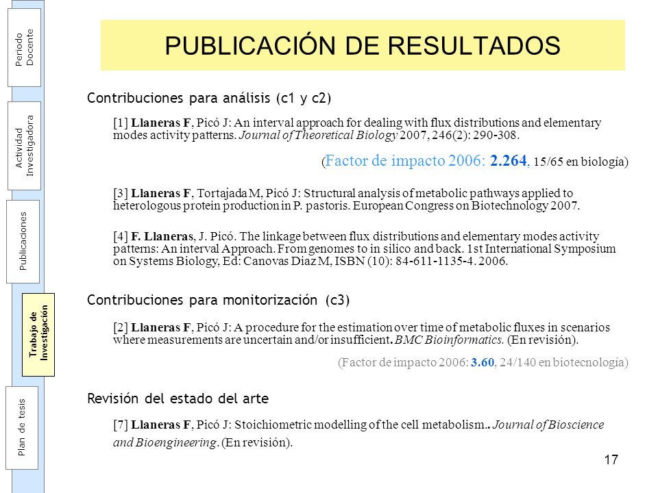 17 PUBLICACIÓN DE RESULTADOS Contribuciones para análisis (c1 y c2) [1] Llaneras F, Picó J: An interval approach for dealing with flux distributions a