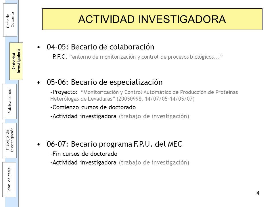 4 ACTIVIDAD INVESTIGADORA 04-05: Becario de colaboración –P.F.C. entorno de monitorización y control de procesos biológicos... 05-06: Becario de espec