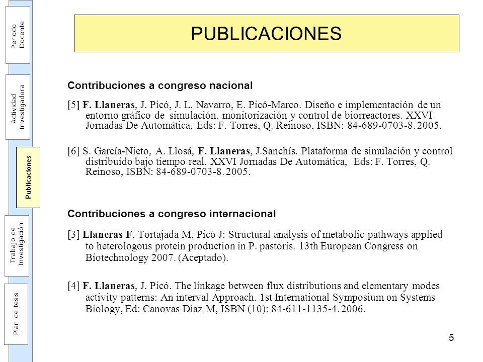 5 PUBLICACIONES Contribuciones a congreso nacional [5] F. Llaneras, J. Picó, J. L. Navarro, E. Picó-Marco. Diseño e implementación de un entorno gráfi