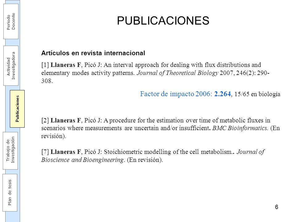 17 PUBLICACIÓN DE RESULTADOS Contribuciones para análisis (c1 y c2) [1] Llaneras F, Picó J: An interval approach for dealing with flux distributions and elementary modes activity patterns.
