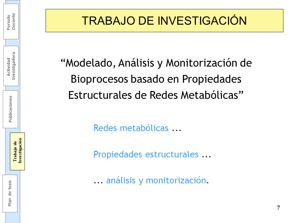 7 TRABAJO DE INVESTIGACIÓN Modelado, Análisis y Monitorización de Bioprocesos basado en Propiedades Estructurales de Redes Metabólicas Redes metabólic