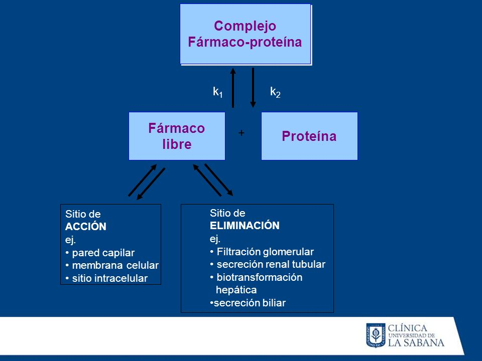Complejo Fármaco-proteína Complejo Fármaco-proteína Fármaco libre Proteína + Sitio de ACCIÓN ej. pared capilar membrana celular sitio intracelular Sit