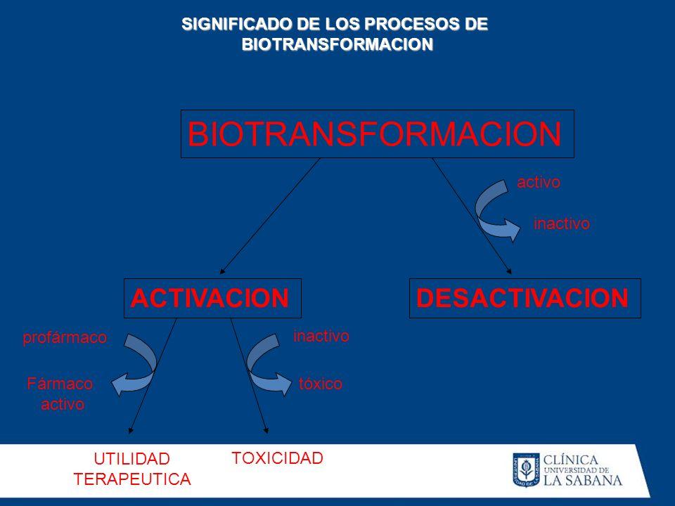 BIOTRANSFORMACION ACTIVACIONDESACTIVACION UTILIDAD TERAPEUTICA TOXICIDAD activo inactivo tóxico profármaco Fármaco activo SIGNIFICADO DE LOS PROCESOS