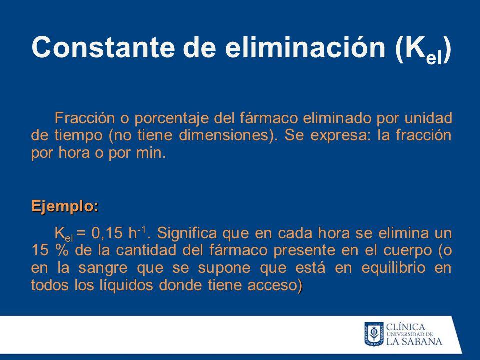 Constante de eliminación (K el ) Fracción o porcentaje del fármaco eliminado por unidad de tiempo (no tiene dimensiones). Se expresa: la fracción por