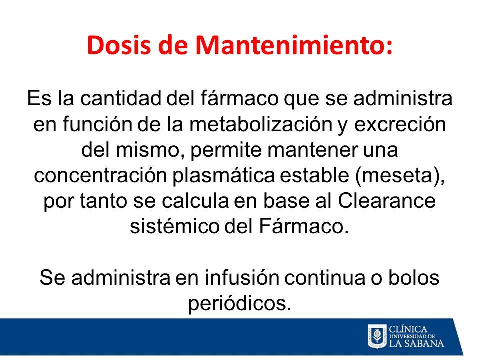 Dosis de Mantenimiento: Es la cantidad del fármaco que se administra en función de la metabolización y excreción del mismo, permite mantener una conce