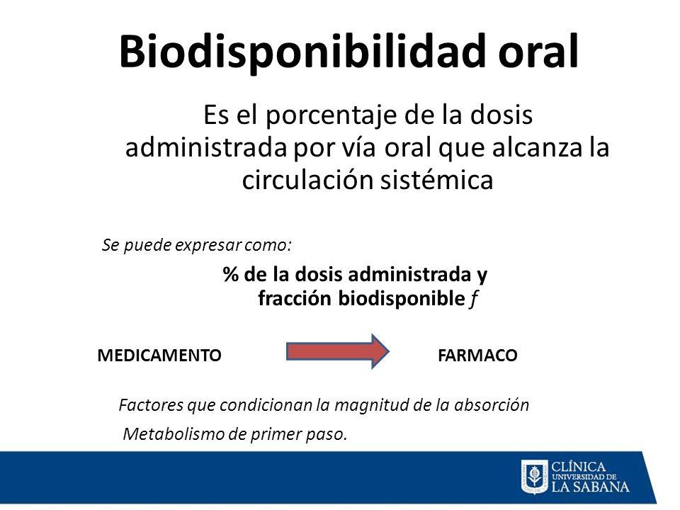 Biodisponibilidad oral Es el porcentaje de la dosis administrada por vía oral que alcanza la circulación sistémica Se puede expresar como: % de la dos