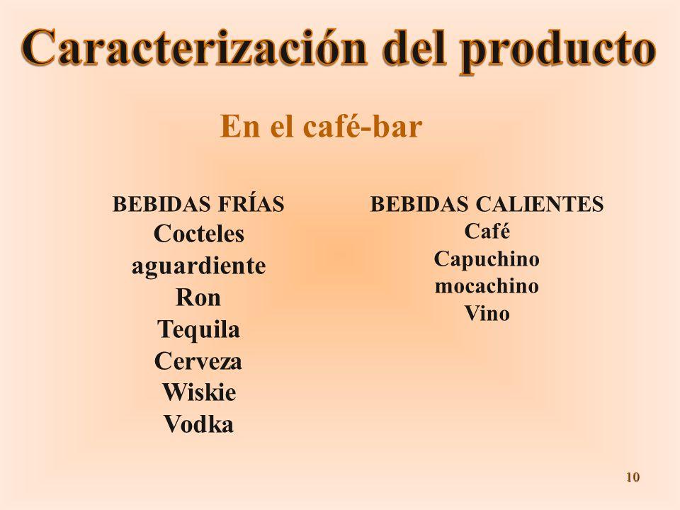 10 BEBIDAS FRÍAS Cocteles aguardiente Ron Tequila Cerveza Wiskie Vodka BEBIDAS CALIENTES Café Capuchino mocachino Vino En el café-bar