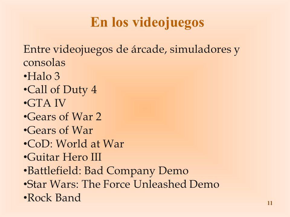 11 En los videojuegos Entre videojuegos de árcade, simuladores y consolas Halo 3 Call of Duty 4 GTA IV Gears of War 2 Gears of War CoD: World at War G