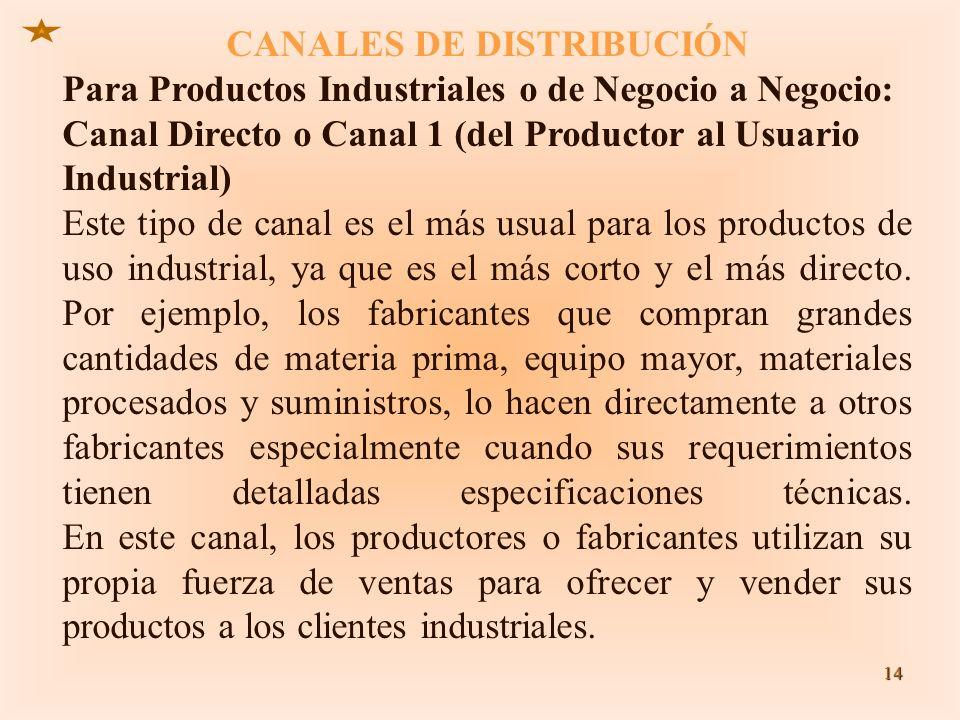 CANALES DE DISTRIBUCIÓN Para Productos Industriales o de Negocio a Negocio: Canal Directo o Canal 1 (del Productor al Usuario Industrial) Este tipo de