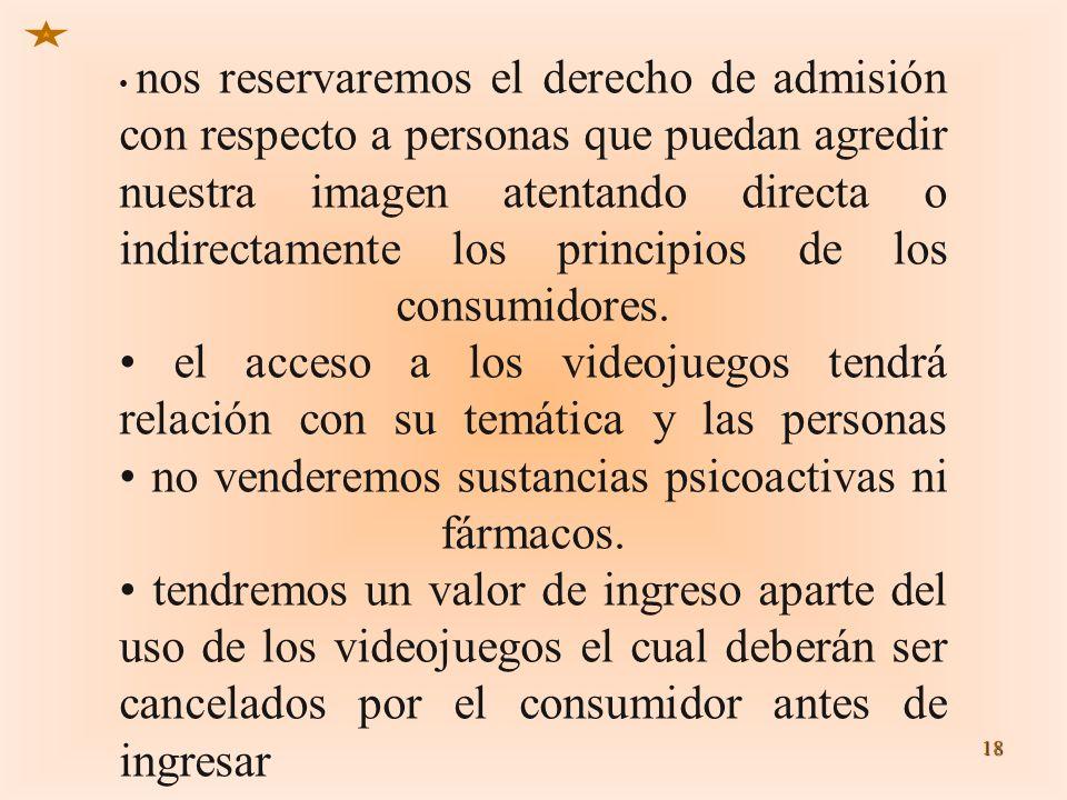 18 nos reservaremos el derecho de admisión con respecto a personas que puedan agredir nuestra imagen atentando directa o indirectamente los principios
