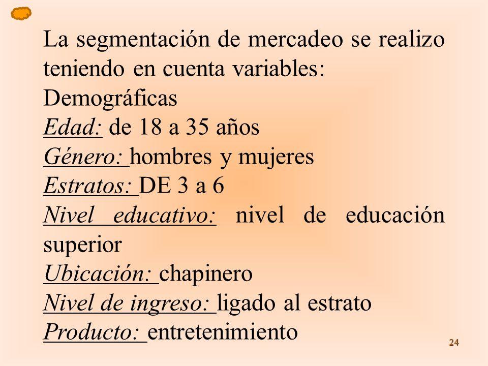 24 La segmentación de mercadeo se realizo teniendo en cuenta variables: Demográficas Edad: de 18 a 35 años Género: hombres y mujeres Estratos: DE 3 a