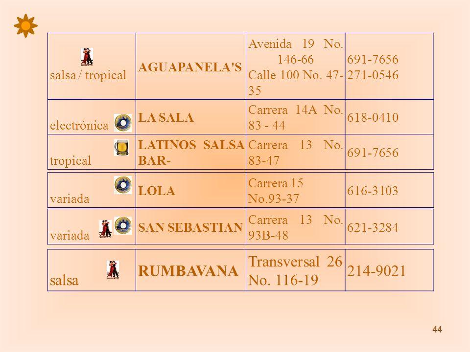 44 salsa / tropical AGUAPANELA'S Avenida 19 No. 146-66 Calle 100 No. 47- 35 691-7656 271-0546 electrónica LA SALA Carrera 14A No. 83 - 44 618-0410 tro