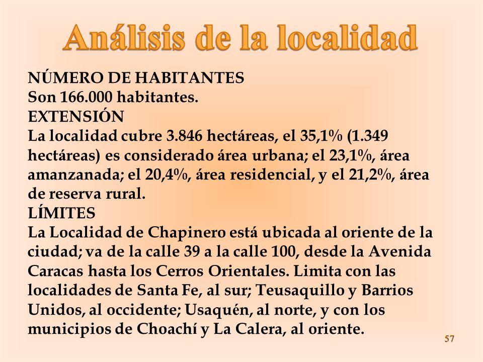 57 N Ú MERO DE HABITANTES Son 166.000 habitantes. EXTENSI Ó N La localidad cubre 3.846 hect á reas, el 35,1% (1.349 hect á reas) es considerado á rea
