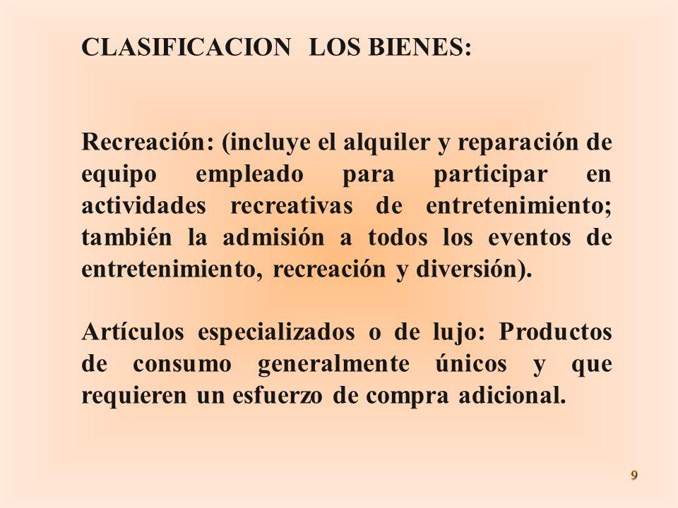 9 CLASIFICACION LOS BIENES: Recreación: (incluye el alquiler y reparación de equipo empleado para participar en actividades recreativas de entretenimi