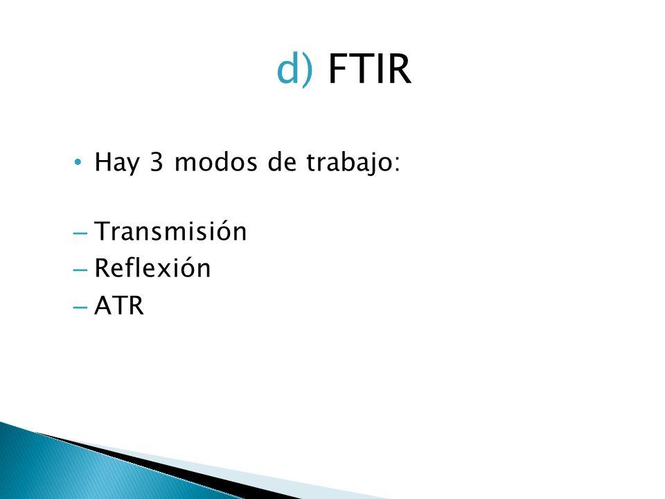 Hay 3 modos de trabajo: – Transmisión – Reflexión – ATR d) FTIR