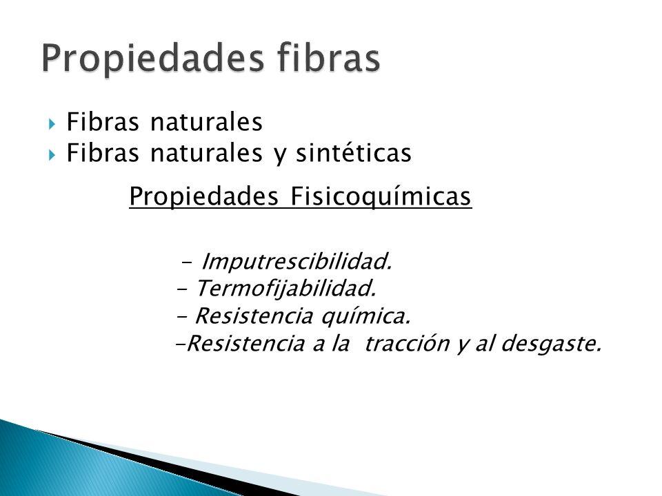 Fibras naturales Fibras naturales y sintéticas Propiedades Fisicoquímicas - Imputrescibilidad. - Termofijabilidad. - Resistencia química. -Resistencia